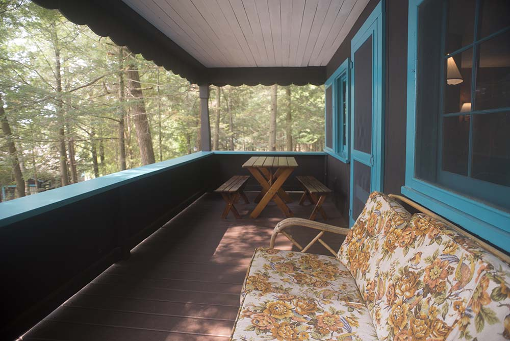 Porch with table and couch