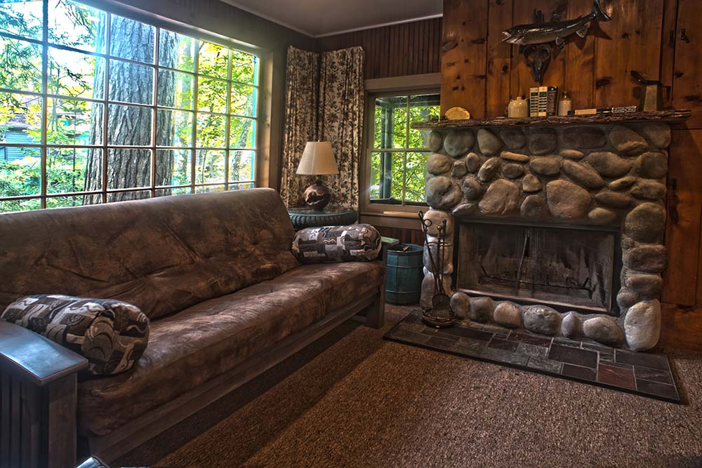 fireplace and couch