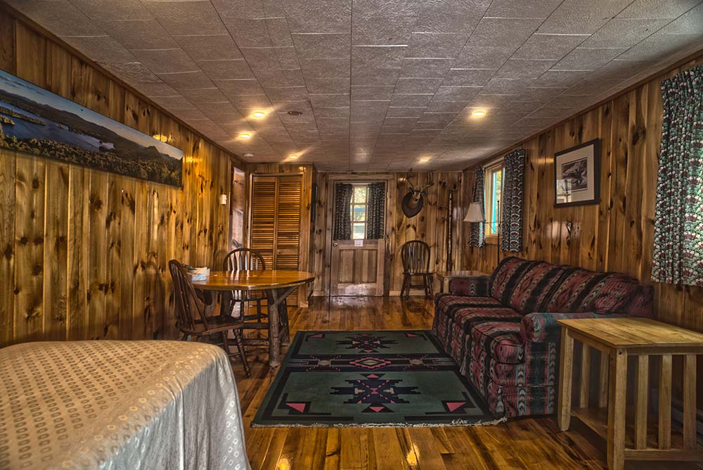 Couch, Small table and bed in wood paneled room