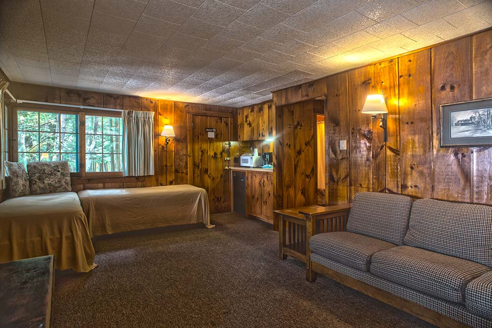 Wood paneled room with 2 beds and couch